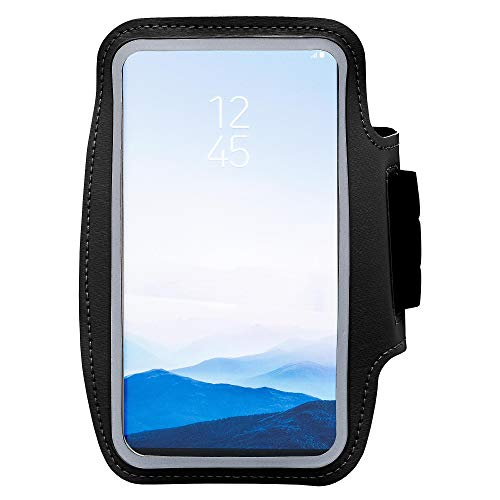 ECENCE Sportarmband Handy Universal Jogging Armband kompatibel für iPhone 6 6S 7 8 X XS XR Galaxy S6 / S7 Schwarz 11040502