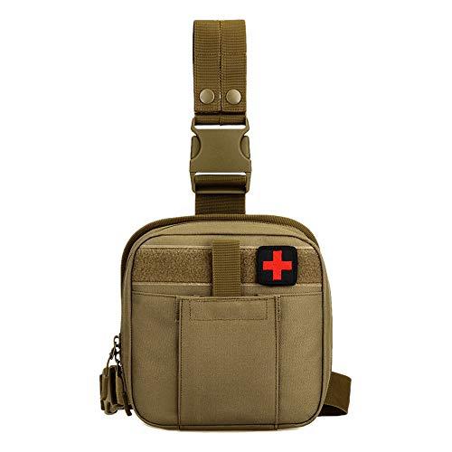 Taktisch Beintasche Molle Tasche Klein Erste Hilfe Tasche Hüfttasche Notfalltasche Wasserdicht Militär Pouch für Outdoor Wandern Trekking - Khaki Braun