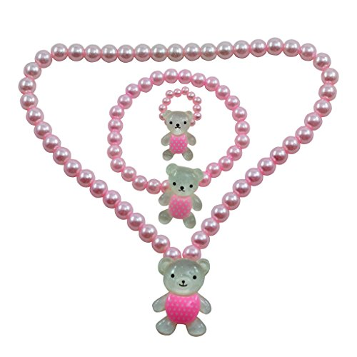 "Angel Glitter ""Teddy"" Pearl Necklace Set (Pink)"