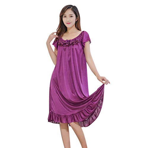 Coconute Frauen Mehrere Farben zur Auswahl Nachthemd Dessous Nachtwäsche Pyjamas Einfarbig Kurzarm Lose Damen Satin Nachtkleid Kleid Lingerie Sleepwear(Purple2,XXL) -