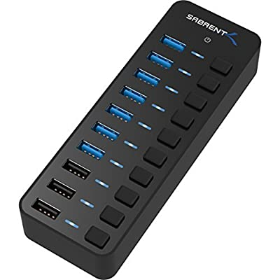 Sabrent 60W 7-Port USB 3.0 Hub + 3 Smart Charging Ports with Individual Power Switches and LEDs includes 60W 12V/5A power adapter (HB-B7C3)
