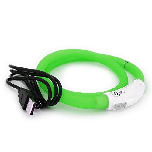 PRECORN LED USB Halsband Silikon Hundehalsband Leuchthalsband für Hunde aufladbar per USB (Größe S-L auf 18-65 cm individuell kürzbar) in grün