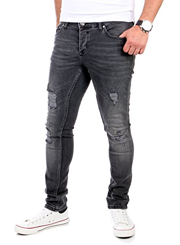 Reslad Jeans Herren Destroyed Look Slim Fit Denim Strech Jeans-Hose RS-2062 Schwarz