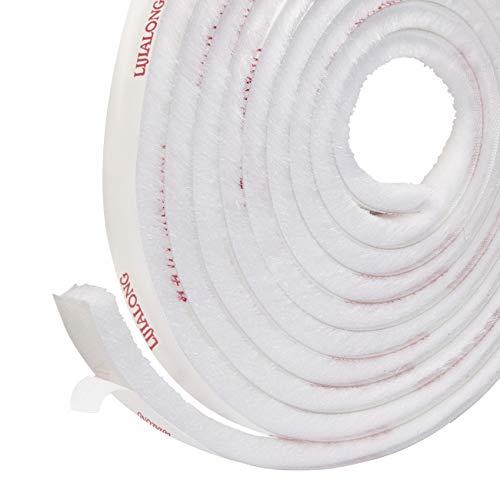 Selbstklebend Bürstendichtung Dichtungsstreifen 4.9m(L) x9 mm(B) x 9mm(D) Zugluftstopper hochdichter Filz-Zugluft-Exzenter für Schiebetüren, Fenster und Garderobe, Dichtungsbürste (Weiß)