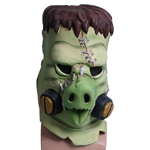 SDKHIN Pest-Doktor-Form-Masken-Kappe Cosplay Halloween-Kappen-Maske Requisiten Halloween-Masken-Monster-Geist,Green-OneSize