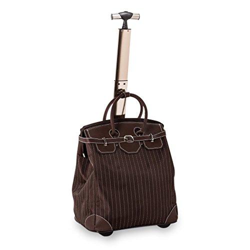 Einkaufstasche und Einkaufstrolley - Reisetasche in einer Funktion, Nadelstreifen braun