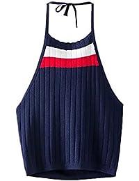 ROPALIA Femme Débardeurs Halter Cami T-Shirt Tricot Veste Crop Blouse sans Manche SML.