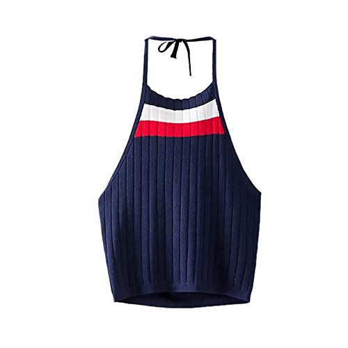 ROPALIA Femme Débardeurs Halter Cami T-Shirt Tricot Veste Crop Blouse sans Manche SML. Bleu