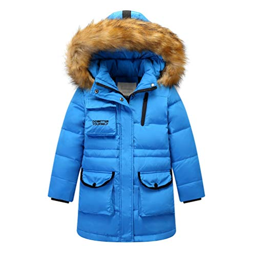 G-Kids Kinder Daunenjacke Winterjacke Mantel mit Fellkapuze Mädchen Junge Verdickte Lange Warm Steppjacke Wintermantel Praka Trenchcoat Blau 140