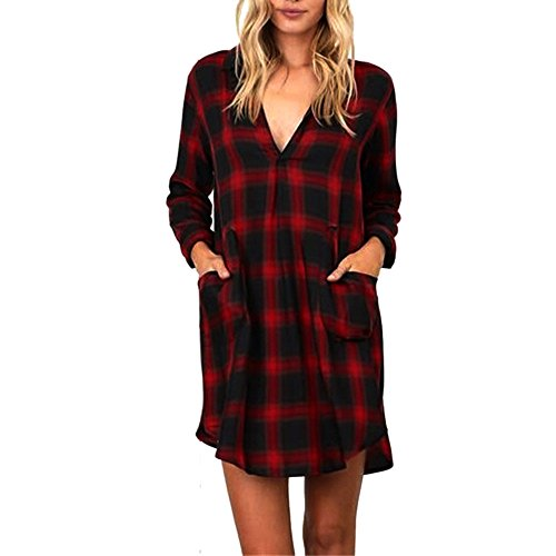 Damen Kleid FORH Lady Slim Karierte Kleid Elegant Langarmshirt Knopf Hemdkleid Casual Reizvolle...