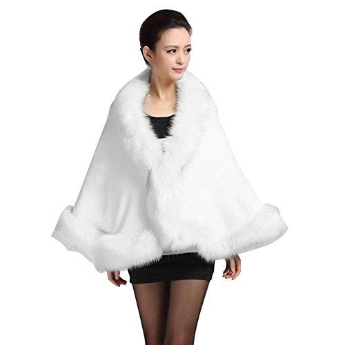 Tongshi Mujeres de la falda de piel de señora Faux abrigo corto poncho capa abrigo abrigo suéter (Blanco)
