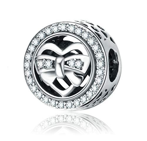 Zxx Jewelry Frauen Prinzessin 925 Sterling Silber DIY Perle Charme Bogen Elegante Schmuck Geschenkbox, Nickel Frei Bestanden SGS Test (Disney Prinzessin Bögen)