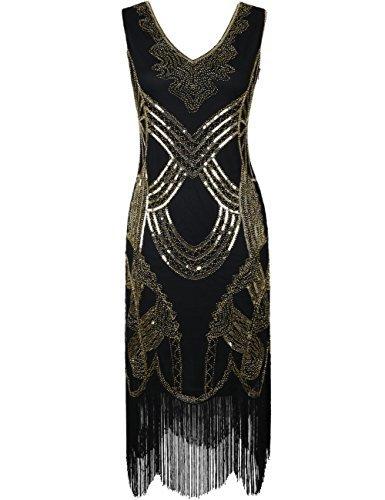 kayamiya Damen Retro 1920er Jahren Perlen Pailletten Floral Franse Gatsby Flapper Kleid XL Reines Gold