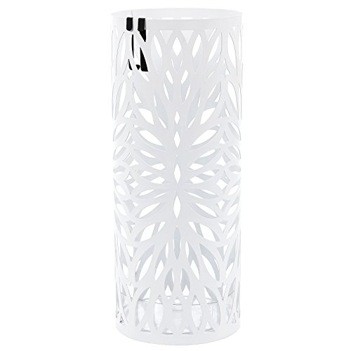 Songmics metall Schirmständer mit Wasserauffangschale Haken rund Ø 19.5 x 49 cm weiß LUC20W