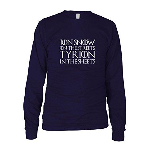 GoT: Jon Snow on the Streets. Tyrion in the Sheets - Herren Langarm T-Shirt Dunkelblau