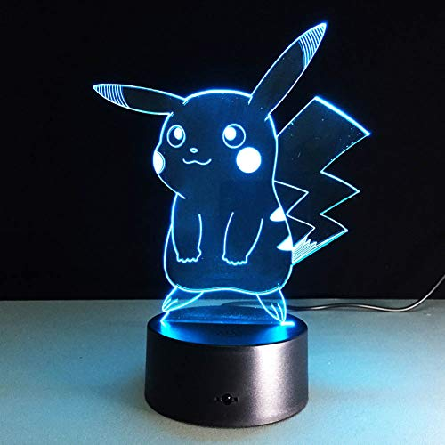 SJSF L Heiß, für Pokemon Go, Action Figure 3D-Atmosphäre Illusion Nachtlicht, für Pikachu, Schlafzimmer Kinder Geschenk Kreative 3D-Illusion Lampe,7colortouch (Pokemon-stecker)