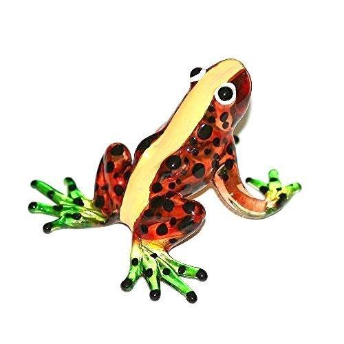 Frosch Orange Braun Gelb Grün - Figur aus Glas Oranger Frosch mit Gelbem Rückenstreifen und Grünen Füßen - Glasfigur Glastier T-01 Deko Setzkasten Vitrine