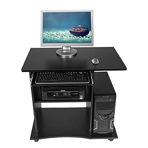 Harima - Mackinac Professionnel D'angle Poste de travail informatique / Table Informatique Meuble de bureau pour ordinateur avec tablette coulissante porte clavier Accueil PC de bureau - Noir
