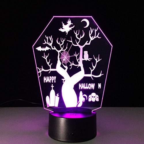 SFALHX Allerheiligen 3D Fernbedienung LED Nachtsicht Stereo Lampe 7 Farbwechsel LED Als Halloween Dekoration (Ist Allerheiligen Halloween)