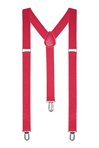 Autiga® Hosenträger Herren Damen Hosen Träger Y Form Style Clips Schmal Neon Bunt Farbig hellrot