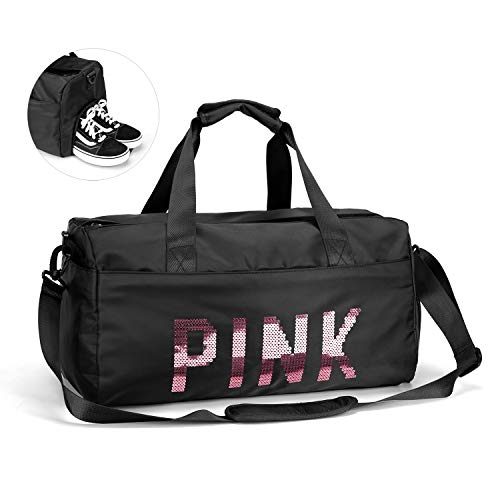 FEDUAN PINK Sporttasche mit Schuhfach Nassfach Reisetasche modisch wasserdicht für Damen und Herren Yoga Pilates Strand Freizeit Sauna Gym-Tasche Shopping-Bag Weekender Urlaub rosa schwarz Marke