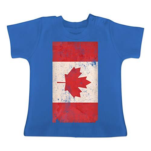 Städte & Länder Baby - Kanada Flagge Vintage - 12-18 Monate - Royalblau - BZ02 - Baby T-Shirt Kurzarm