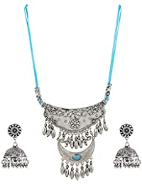 Aradhya Designer Blue Stone And Oxidized Silver Necklace With Earring For Women And Girls