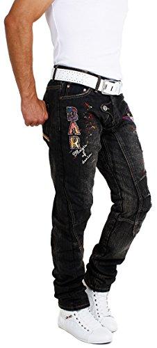 Bar of Denim Vintage Used Look Kontrast Denim Herren Jeans Hose bestickt 4101 mit Sticks & Patches Schwarz-Braun
