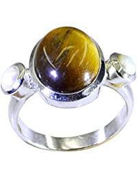 55Carat Real Tiger Eye 925 Silver Ring For Women 2 Stone Setting Oval Round Shape UK Size H-Z