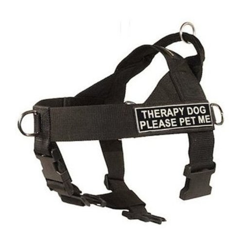 DT-Universal-No-Pull-Dog-Harness-Therapy-Dog-Please-Pet-Me-Black-X-Large-Fits-Girth-Size-91cm-to-119cm