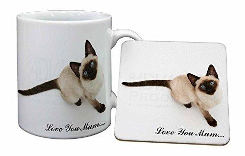 Siamesische Katze 'Love You Mum' Becher und Untersetzer Tier Weihnachtsgeschenk- - Siamesische Katzen