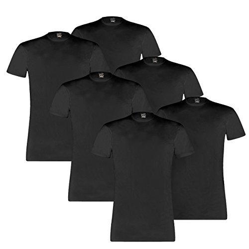 PUMA Herren Basic Crew Shirt - 3x2 Shirts (6er Pack) - black (200) - L (Crew 6pk Tee)