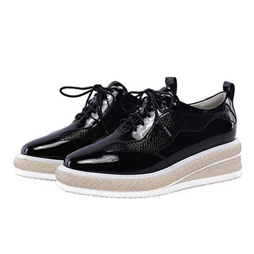 YAN Frauen Casual Shoes Mode Patent Leder High-Top Casual Shoes Casual Wedge Schuhe Lace-Up Lady ' S Schuhe Black White,Black,35 Black Patent Wedge Schuhe