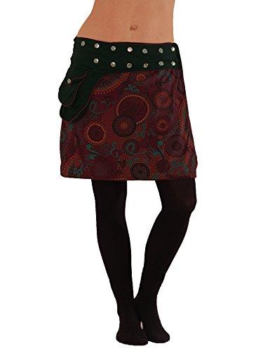 Leucht-Welten süßer Wickelrock aus Baumwolle mit Tasche, Modell Nr. 100, rot