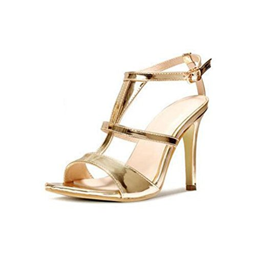 WYWQ Donna Fine Sandali con tacco alto One Word Buckle Gold T-Band Party Prom 2018 Summer New Shallow Mouth 35 36 37 38 39 40 gold