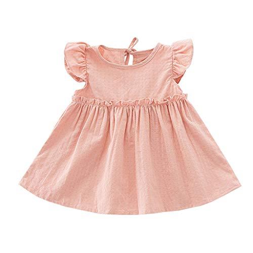 feiXIANG Kleinkind Elegante Dress Rüsche Tops Feste Baby Mädchen Party Clothes Einfarbig Petticoat (Rosa,110)