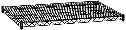 Salsbury Industries 9144BLK 48-Inch Wide by 24-Inch Deep Additional Shelf for Wire Shelving, Black by Salsbury (24 Wire Shelf)