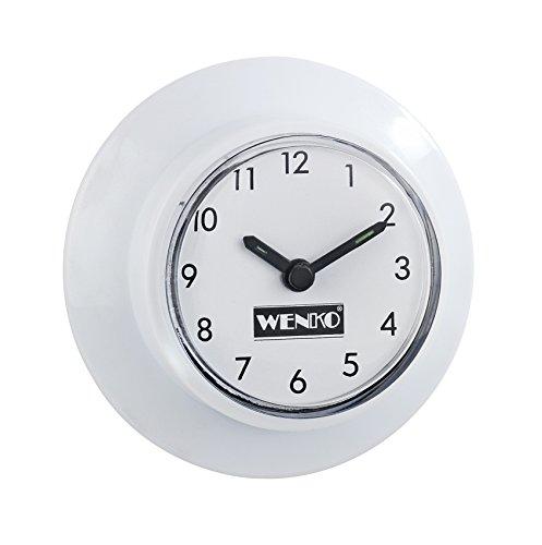 Wenko 21823100 Horloge Salle de Bain Plastique Blanc 6 x 6 x 2,5 cm 2 Pièces