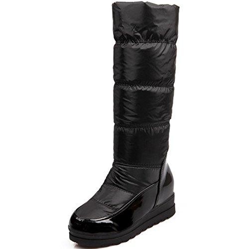 TAOFFEN Damen Winter Keilabsatz stiefel Warm Gefütterte Lange Stiefel Snow Boots Schwarz