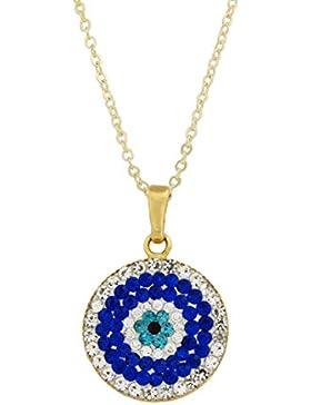 Wunderschöne Kette Halskette mit Anhänger - Böser Blick türkisches Auge Nazar Boncuk - Zirkonia Strass blau weiss...