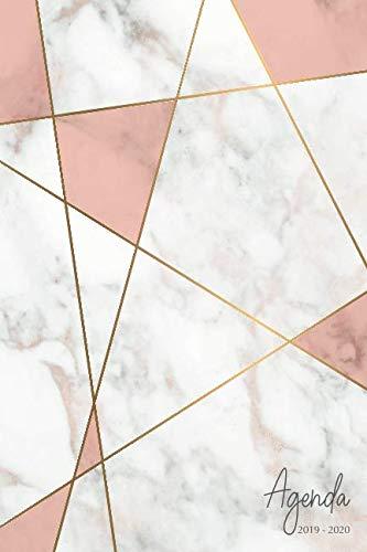 Agenda 2019-2020: Agenda Scolaire de Juillet 2019 à Juillet 2020, Semainier simple & graphique, série Marbre, motif marbre blanc, rose et or
