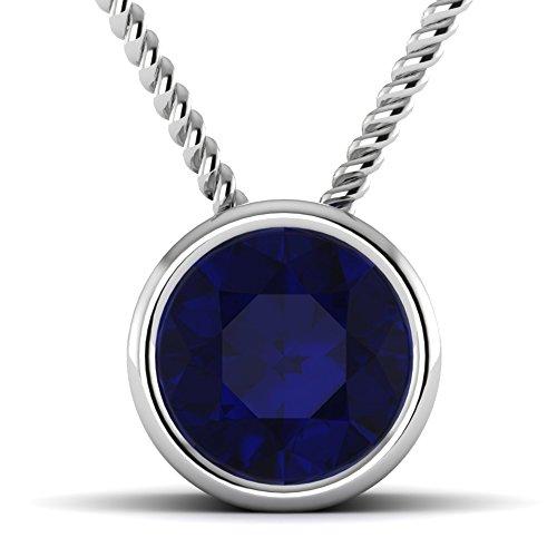 Vijisan Pendant Collection :-925 Sterling Silver 10K White Rhodium 1.00 CT Round Cut Blue Sapphire Women Necklace Pendant