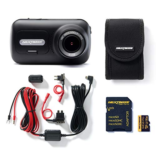 Nextbase 322GW Full 1080p HD In Car Dash Cam Camera Bundle Kit with Mount, Hardwire Kit, 64GB SD Card and case included