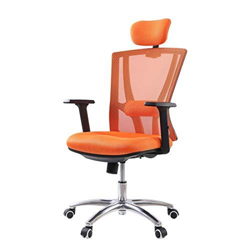 Chaises de bureau avec bras et support dorsal Fauteuil De Bureau Ergonomique En Tissu Maillé Avec Hauteur Réglable Fauteuil ergonomique d'assemblage facile à assembler (Color : Orange)