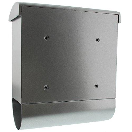 BURG-WÄCHTER, Briefkasten-Set mit integriertem Zeitungsfach, A4 Einwurf-Format, Verzinkter Stahl, Futura 926 Si, Silber - 2