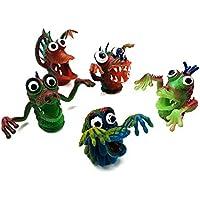 lujiaoshout 5 Unids Muñecas de Dedo Set Silicona Marionetas de Dedo Animales Desarrollo Temprano Juguetes Niños Bebé Aprender Jugar Historia Steller Juguete Figura Animal Estatuilla Llevar a casa