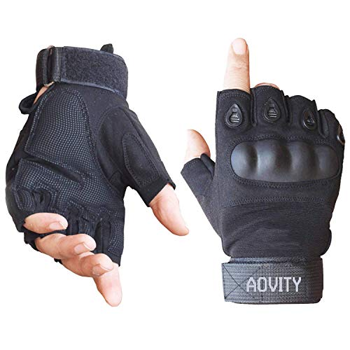 AVITY Halbe Finger Handschuhe, des Harten Knöchel Sport Handschuh Mit Klettverschluss für Klettern Motorrad Radfahren Camping Wandern Outdoor Sport(Schwarz, XL)