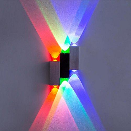 OOFAY LIGHT® 6W 6LED Up Down Wandleuchte LED Wandbeleuchtung in Day White für Wohnzimmer, Schlafzimmer, Küche und Esszimmer , colorful light