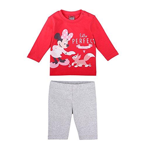 Disney ragazze minnie mouse set, maglietta, leggings, rosso, taglia 62, 3 mesi