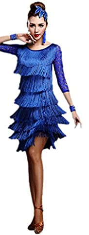Honeystore 2016 Neuheiten Damen Vielschichtig Quasten Swing Rhythmus Jazz Latein Dance Kleid Blau M (Designer Bauchtanz Kostüme)